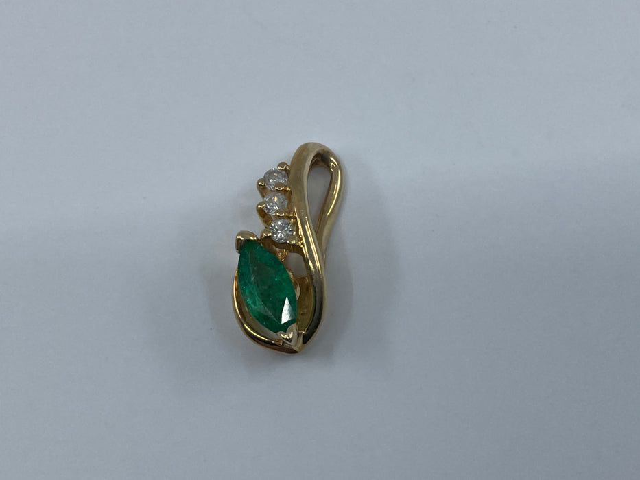 14kt Yellow Gold marquise shaped Emerald and diamond pendant