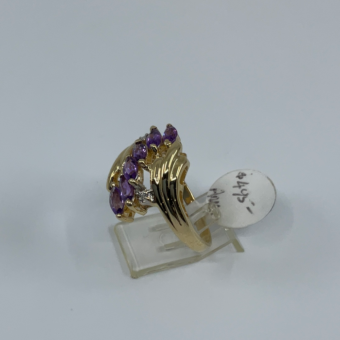 14kt Yellow Gold multi Amethyst and Diamond Ring