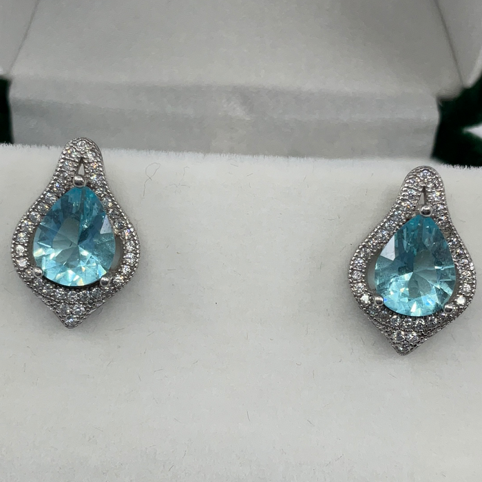 Sterling Silver Large Teardrop Simulated Blue Topaz with CZ Border Earrings