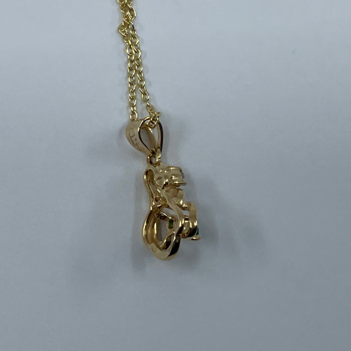 14kt Yellow Gold emerald and diamond free form pendant
