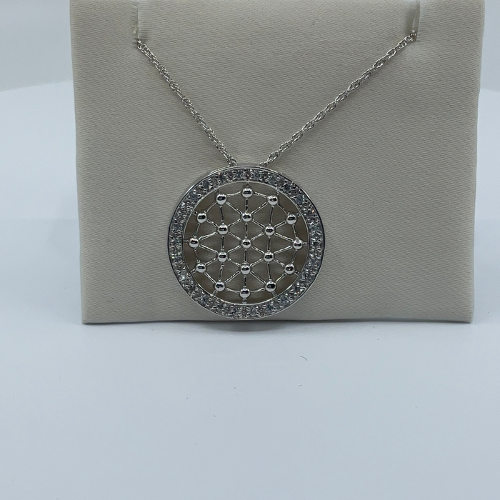 "Rhodium Finish Filigree Cubic Zirconia Round Pendant on 18"" Rope Chain"