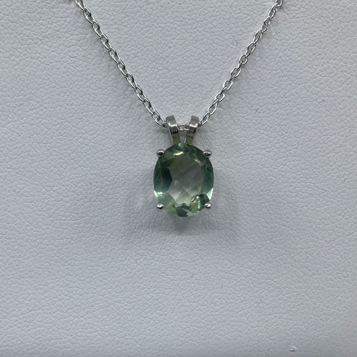 14kt White Gold 2.16ct Oval shaped Lime tourmaline pendant