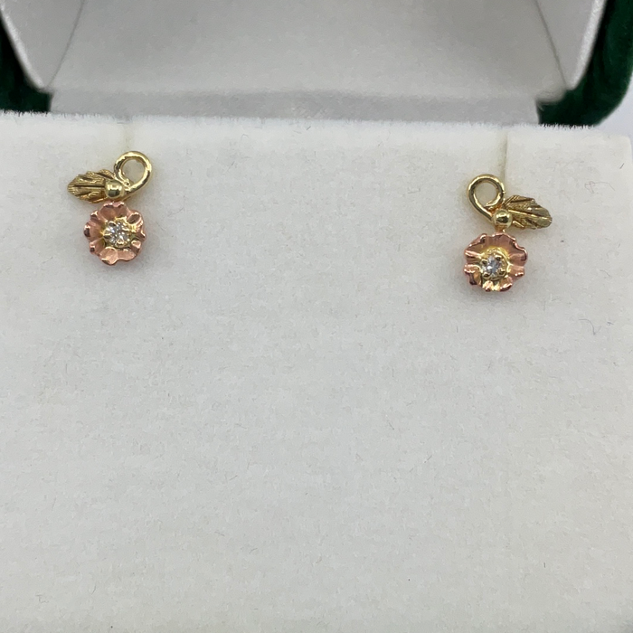 10kt Black Hills Gold Rose and Leaf Diamond Earrings