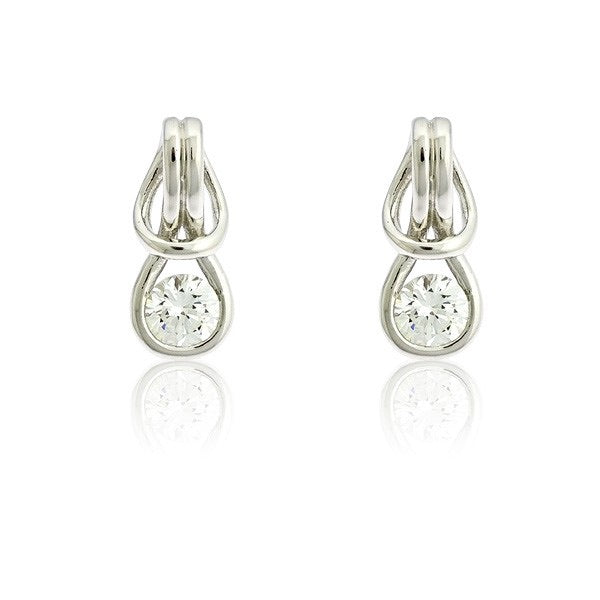 "Sterling Silver ""Love Knot"" w/ Center CZ Earrings"