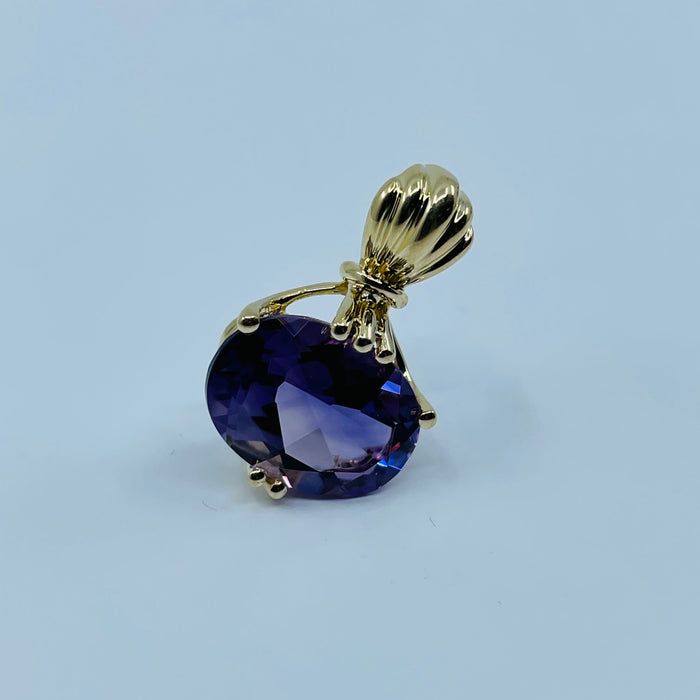 14kt Yellow Gold 14 x 10 Oval Amethyst Pendant