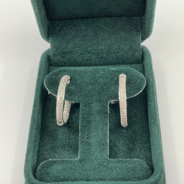 Sterling Silver Diamond inside/outside Hoop Earrings .11ctw