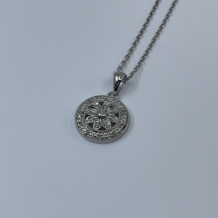 Sterling silver .07ctw diamond pendant