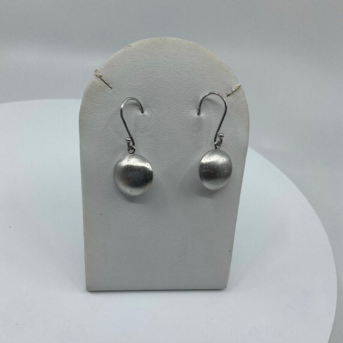 Space ship shaped Sterling Silver earrings with distressed finish and pinholes for light distribution