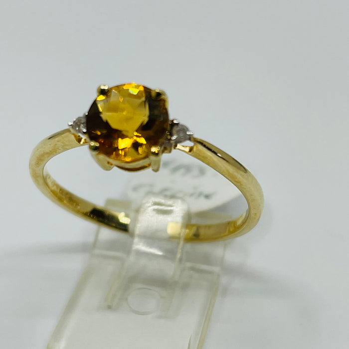 14kt Yellow Gold lens cut Citrine and Diamond Ring