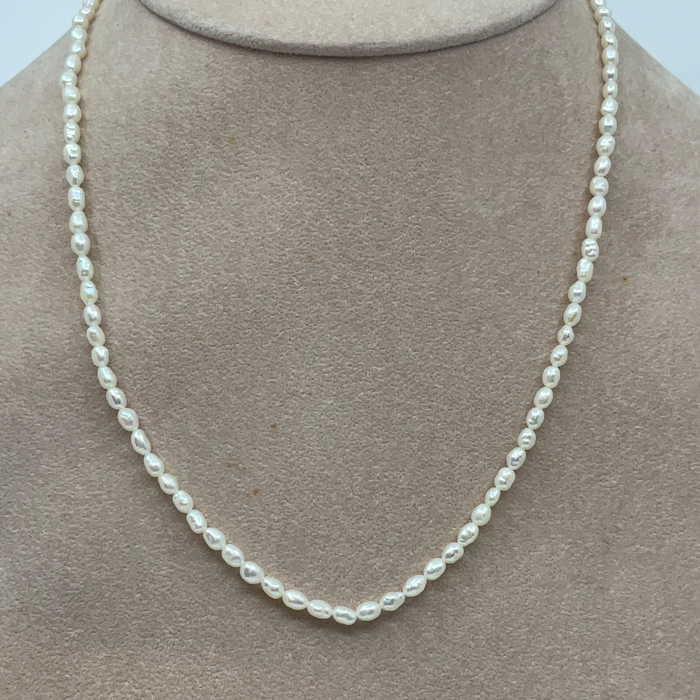 "16"" White Fresh Water Seed Pearl Necklace"