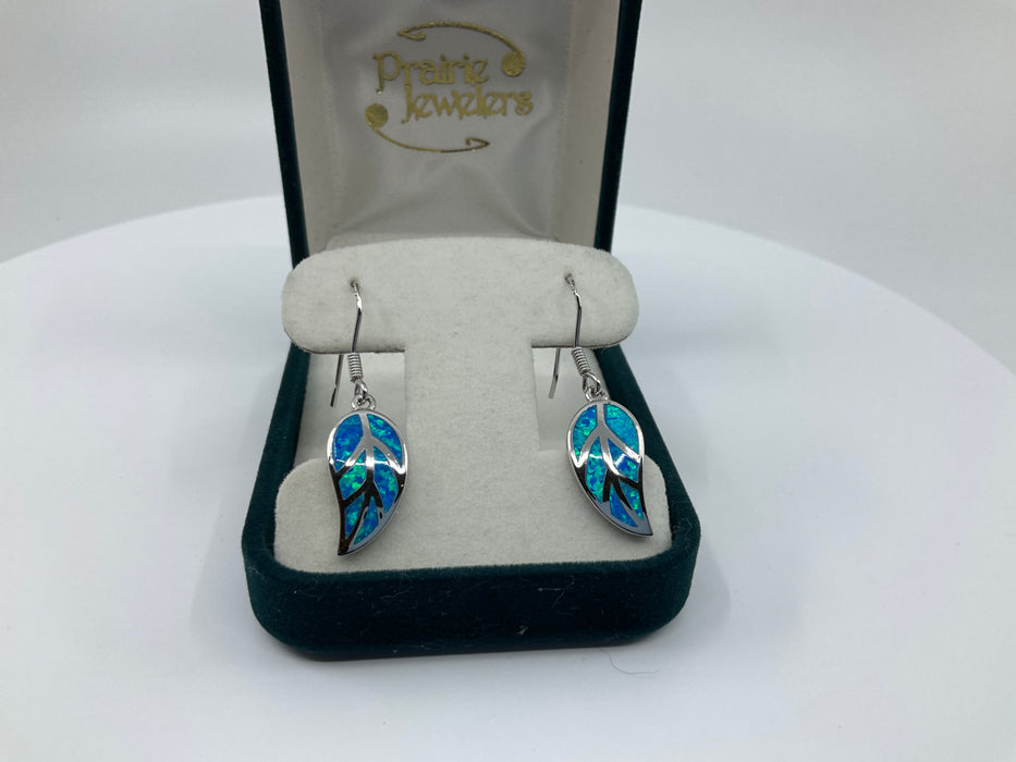 Sterling silver blue inlay opal leaf earrings