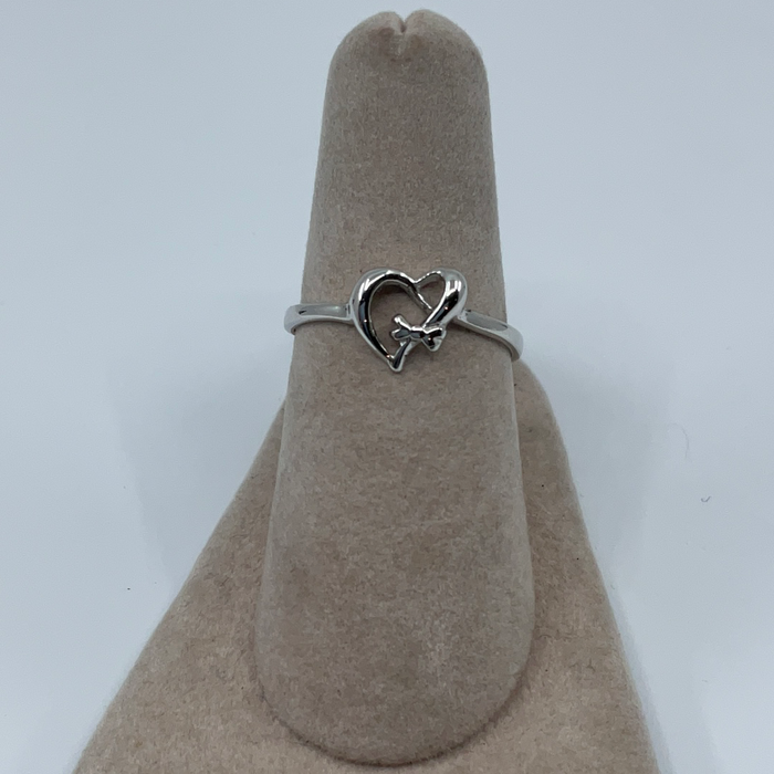 Sterling silver open heart ring with small bow