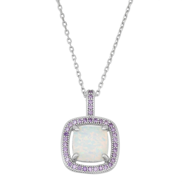 Sterling Silver Square White Inlay Opal with Amethyst Micro Pave CZ Border Pendant