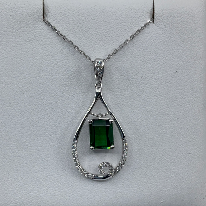 14kt White Gold 2.31ct Tourmaline and diamond pendant