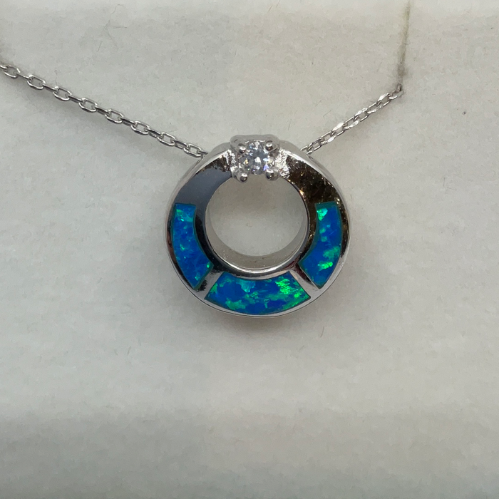 Sterling Silver Blue Inlay Opal w/ CZ Open Circle Pendant