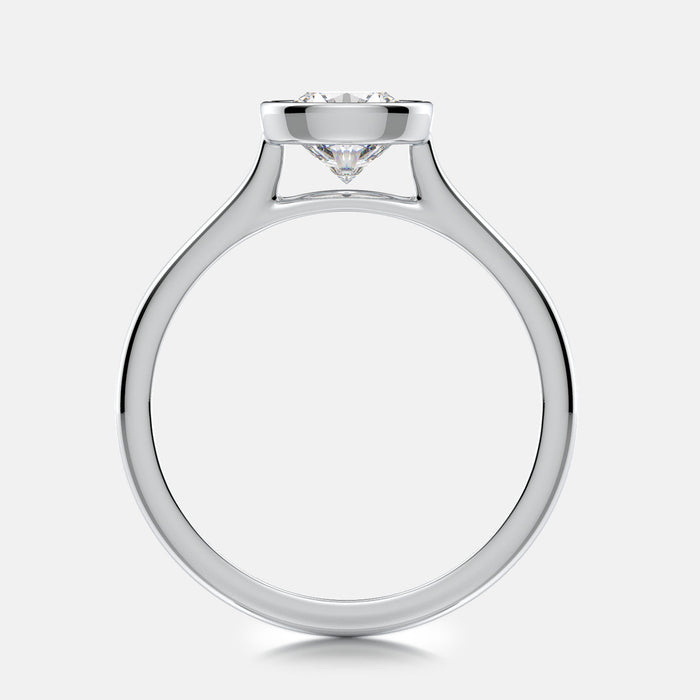 Cathedral bezel-set solitaire engagement ring mounting