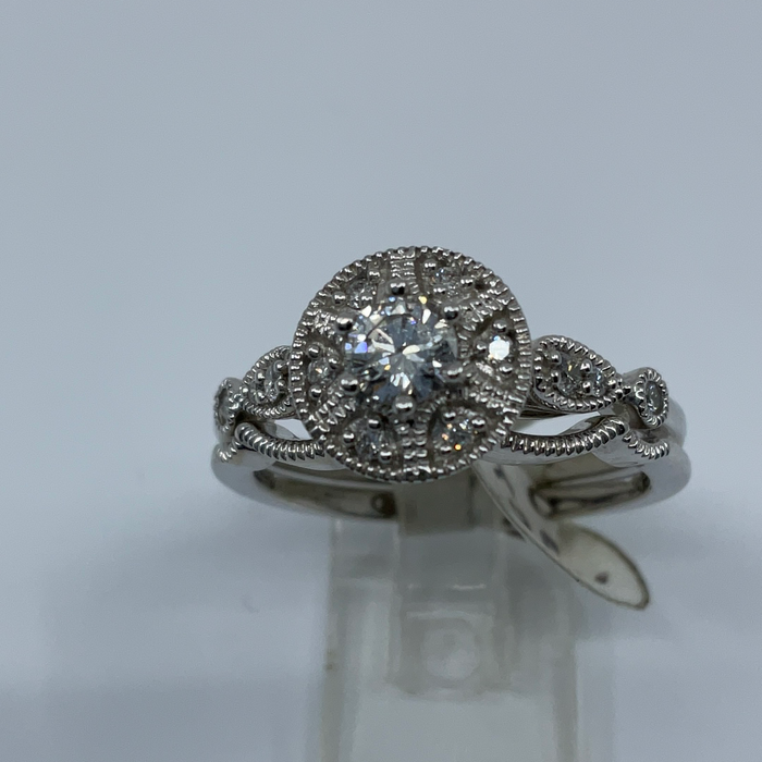 10kt White gold diamond engagement and Wedding ring set
