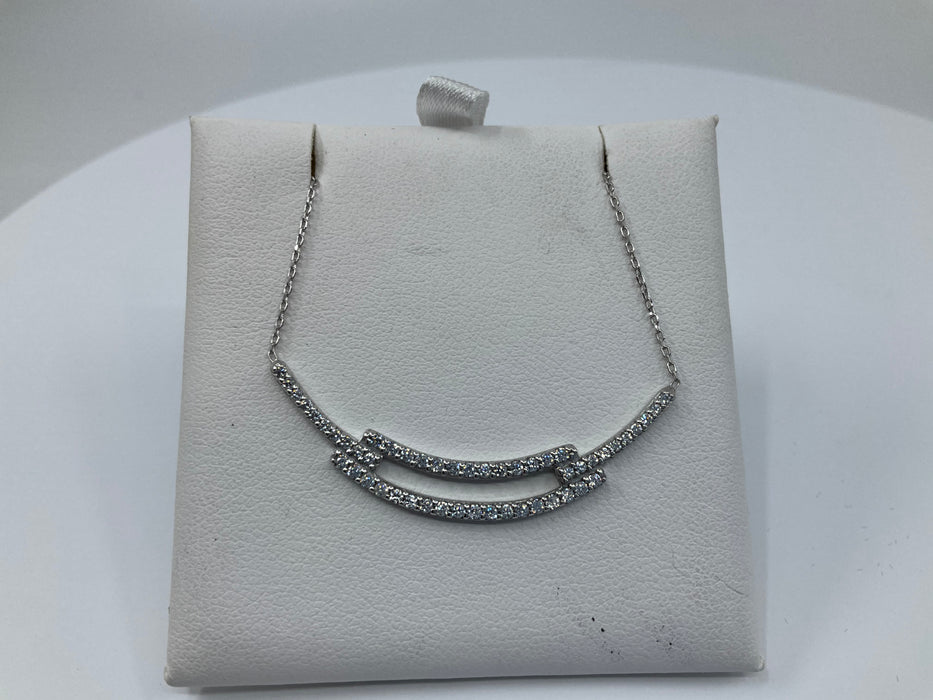 Sterling silver CZ open bar necklace