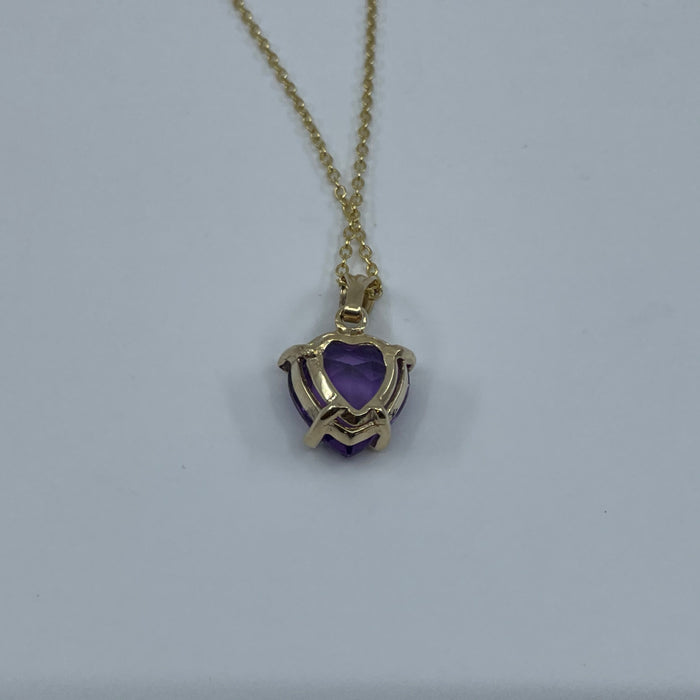 14KT Yellow Gold Heart shaped Amethyst Pendant