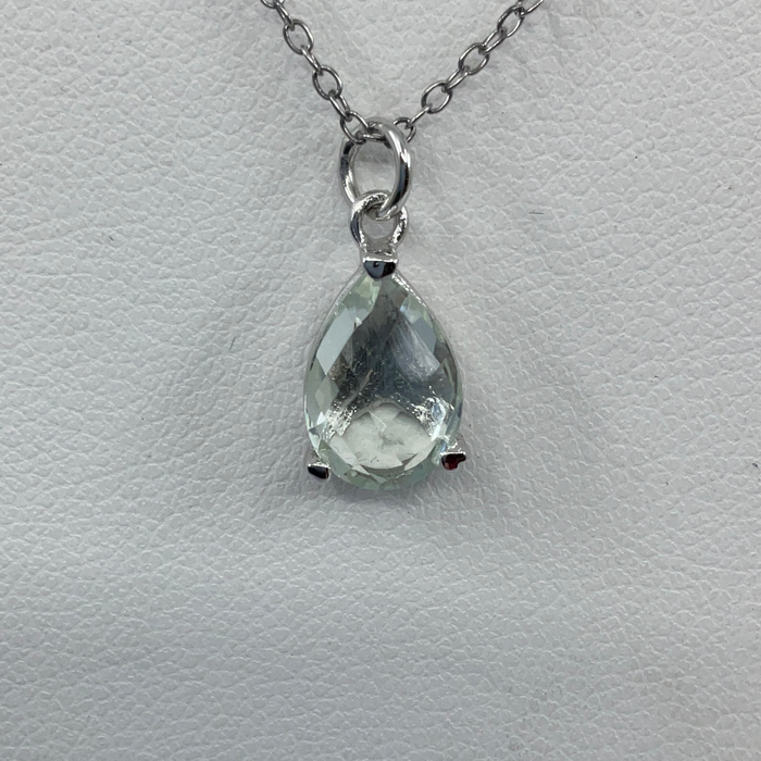 Sterling Silver Teardrop Gem Necklace - Green Amethyst