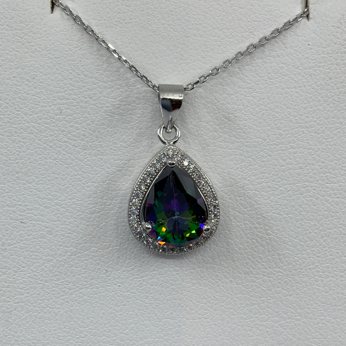 Sterling Silver Teardrop Simulated Rainbow with CZ Border Pendant