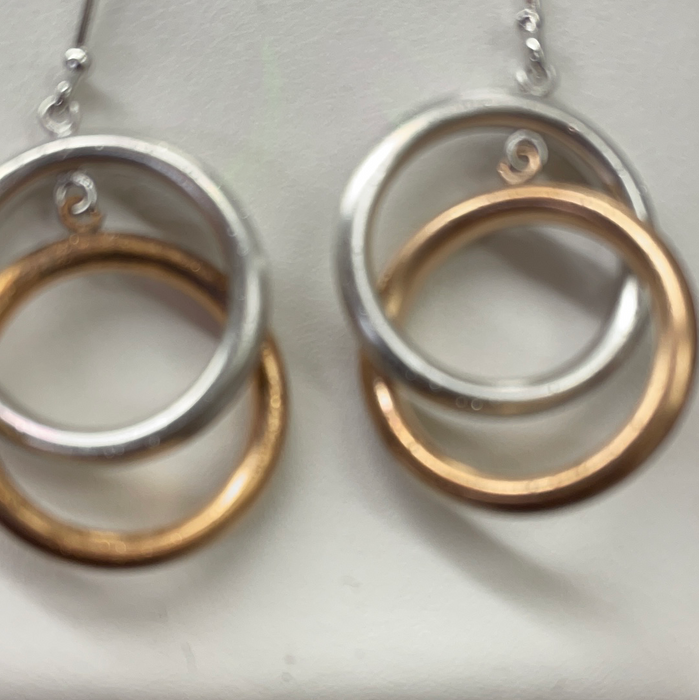 Sterling Silver Rose and silver circle earrings