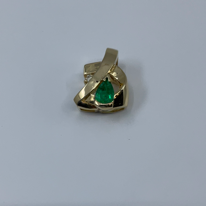 14kt Yellow Gold custom pear shaped Emerald and diamond pendant