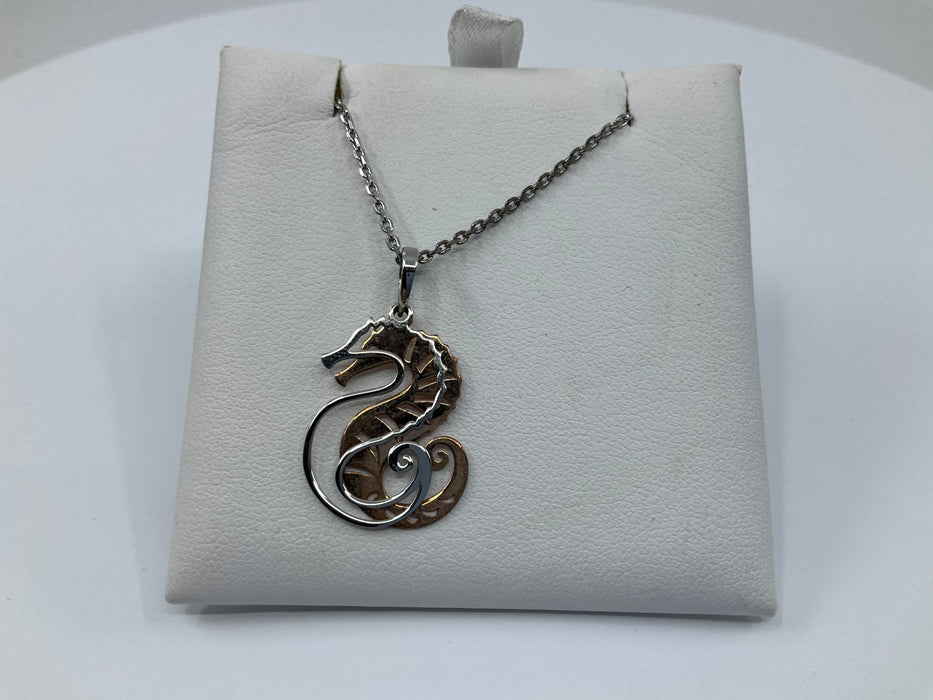 Sterling silver two-tone cut out seahorse necklace