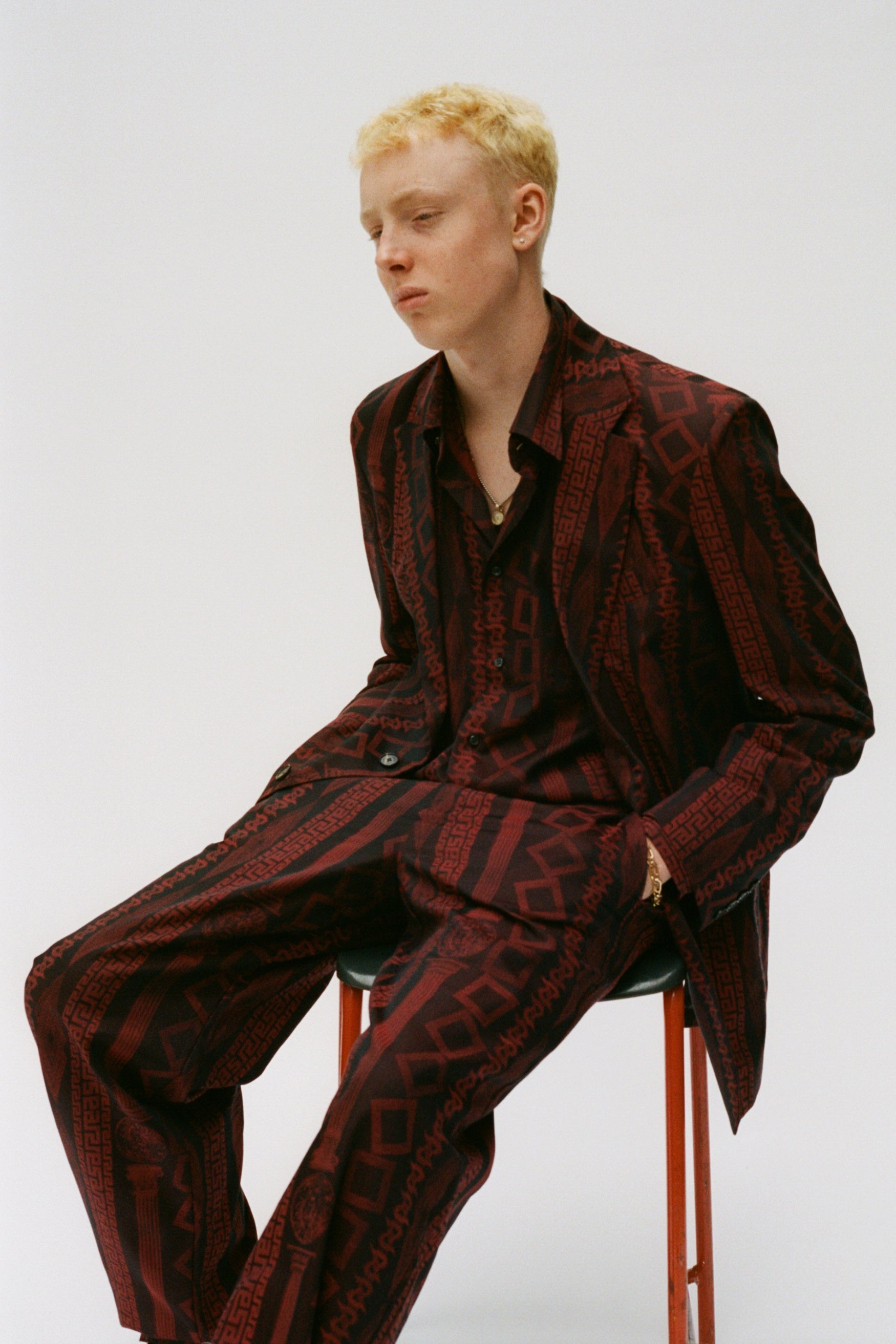 Load image into Gallery viewer, Tailored Column Jacquard Trouser