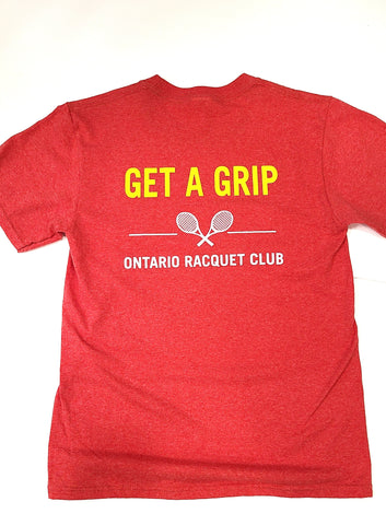 red tee GET A GRIP printed in yellow across back shoulders