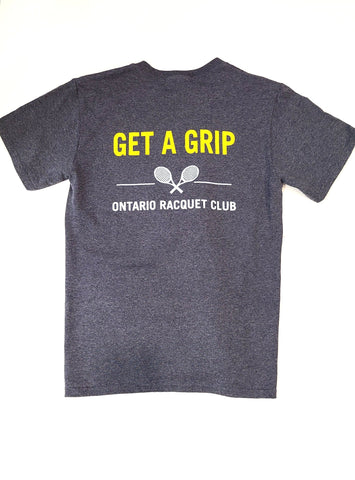 blue tee GET A GRIP printed in yellow across back shoulder