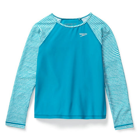 SPEEDO Long Sleeve Rashguard, Aqua Color (Girls)