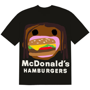 Travis Scott x McDonald's Cactus Plant Flea Market Burger Mouth Black T-Shirt