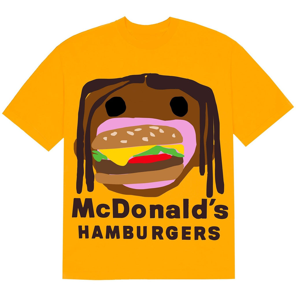 Travis Scott x McDonald's Cactus Plant Flea Market Burger Mouth Yellow T-Shirt