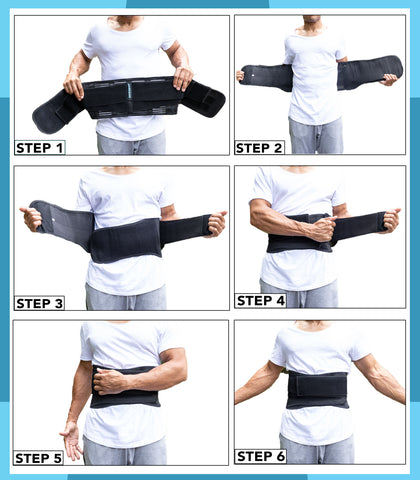 AireSupport Lumbar Support Brace Putting On in six steps.
