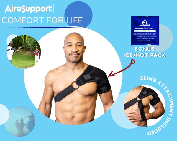 infographic showing shoulder sling and hot cold pack