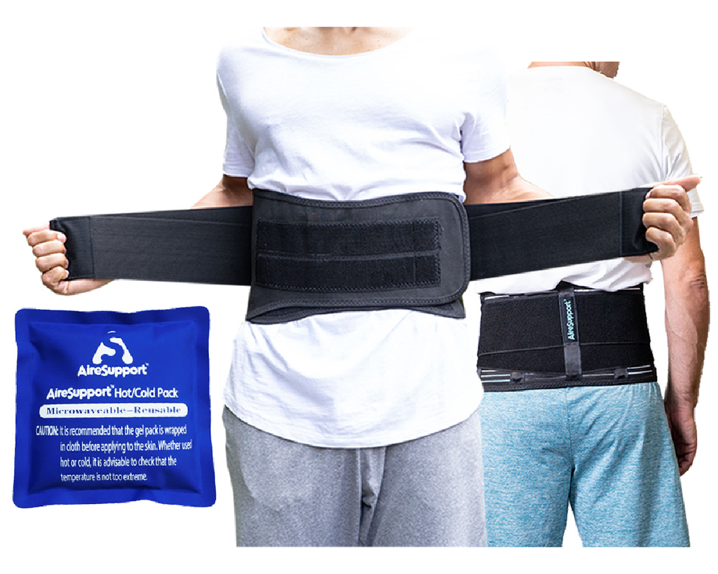 AireSupport Lumbar Support Back Brace Hot Pack Cold Pack Front Back