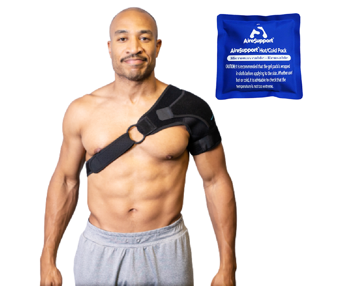 Shoulder Compression Sleeve Brace, Sling, and Hot/Cold Pack