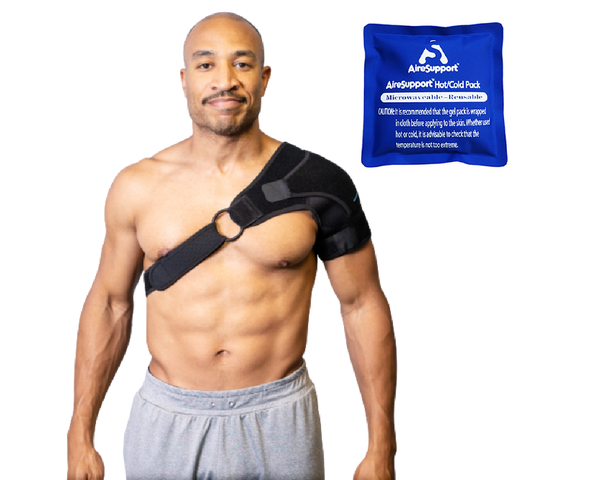 man wearing shoulder brace with hot and cold back
