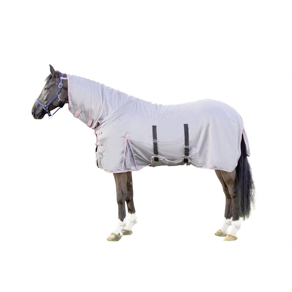 Fly rug with neck part -Grey/pink
