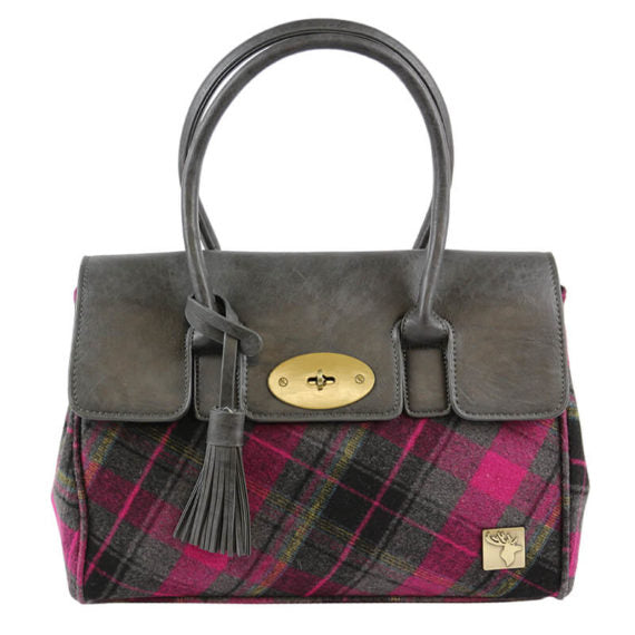 Classic Handbag In Fushia And Black Tweed