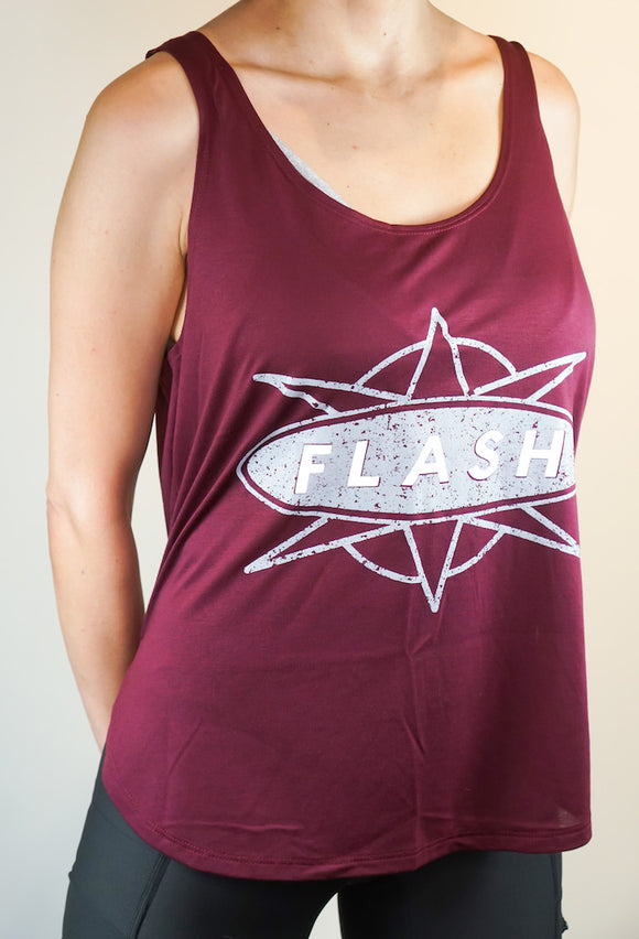 1303 Burgundy Classic Distressed Reflective Tank Top