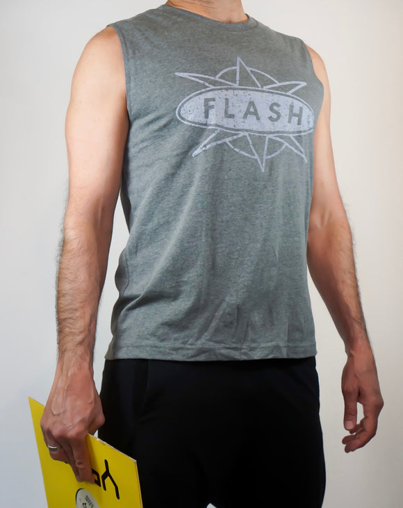 2001 Light Grey Classic Distressed muscle tank top