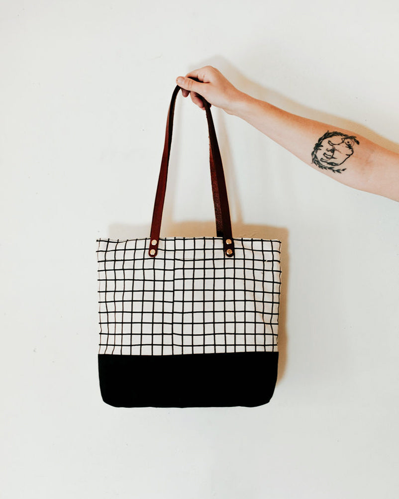 The Grid Zip Tote in White