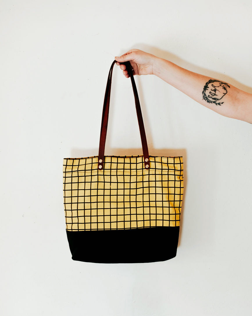 The Grid Zip Tote in Yellow