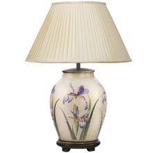 Load image into Gallery viewer, RHS PURPLE IRIS MEDIUM GLASS TABLE LAMP Jenny Worrall