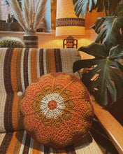 Load image into Gallery viewer, Crochet Cushion - Flower Power Cinnamon
