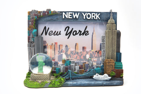 4x6 new york skyline with snow globe picture frame