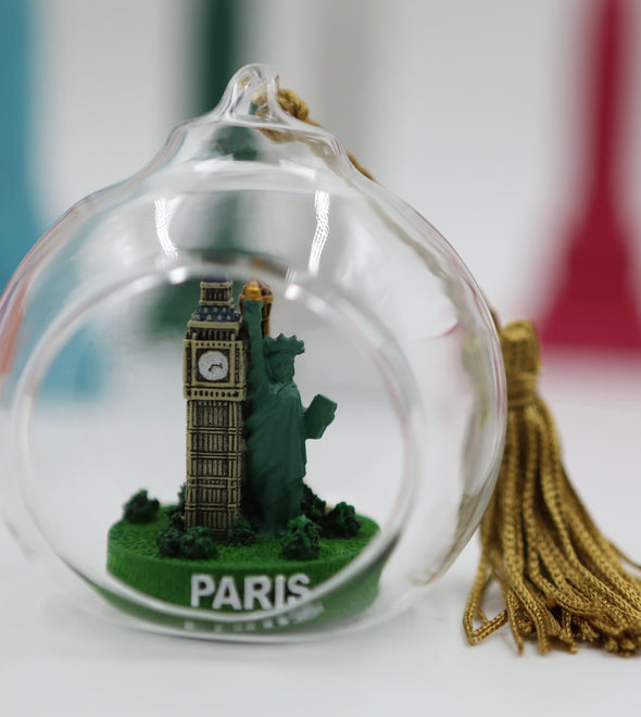 NYC, London, Paris Glass Ornament