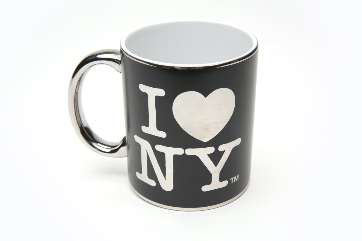 I Love NY Black Reflective 11 ounce Mug